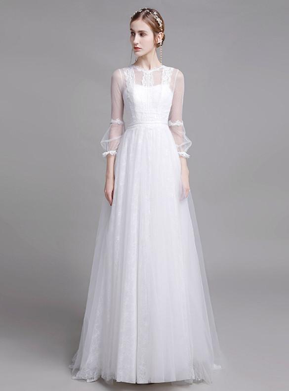 White Tulle Lace Long Sleeve Wedding Dress