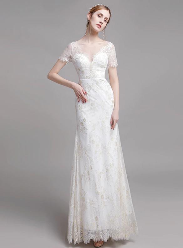 White Lace Sheath Short Sleeve Wedding Dress