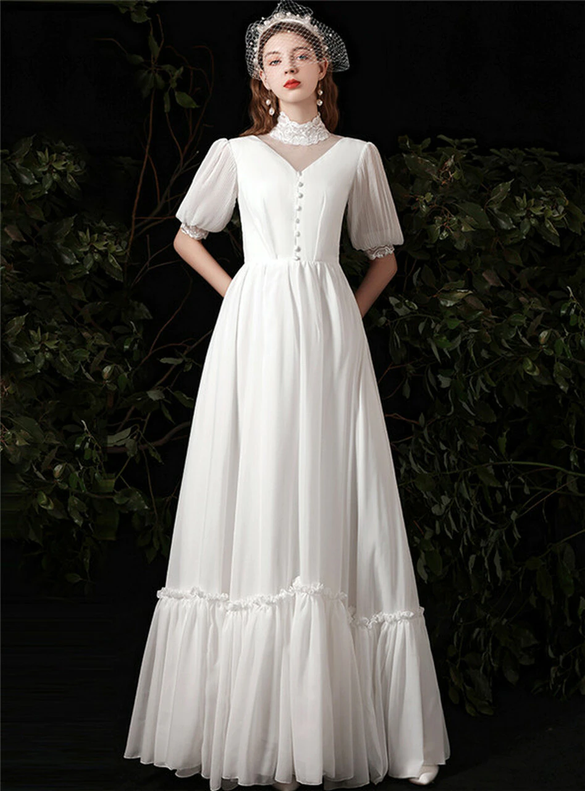 White Chiffon Lace High Neck Puff Sleeve Wedding Dress