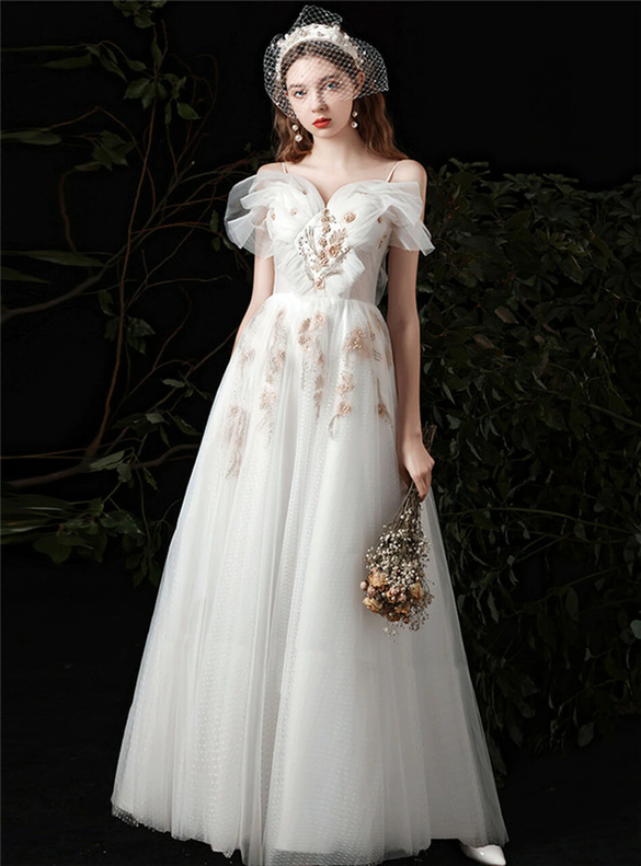 A-Line White Tulle Spaghetti Straps Appliques Wedding Dress