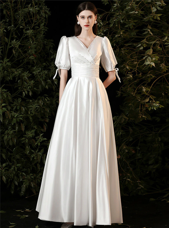 White Satin V-neck Short Sleeve Pearls Pleats Wedding Dress