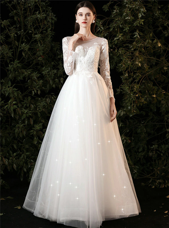 White Tulle Appliques Long Sleeve Wedding Dress