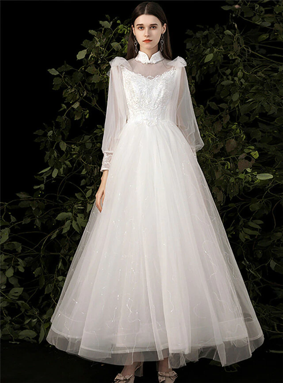White Tulle Lace Appliques High Neck Long Sleeve Wedding Dress