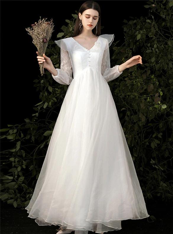 White Tulle Lace V-neck Long Sleeve Wedding Dress