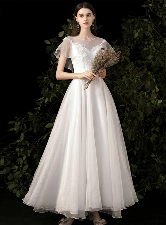 A-Line White Tulle Appliques Long Wedding Dress