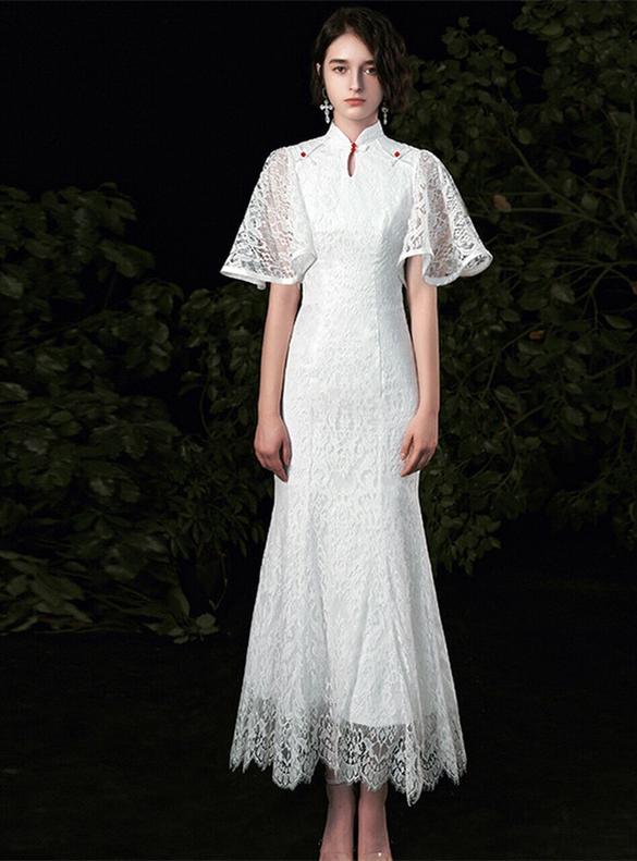 White Mermaid Lace Flying Sleeve Wedding Dress