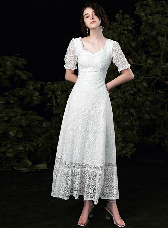 Simple White Lace Short Sleeve Backless Wedding Dress