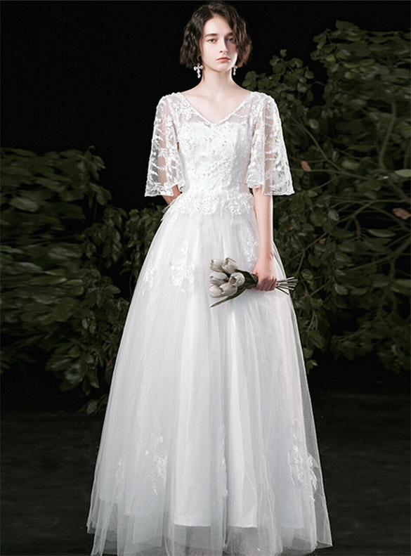 A-Line White Tulle Lace High Waist Wedding Dress