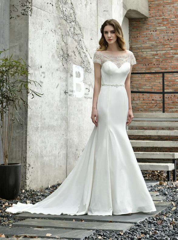 Sexy White Mermaid Satin Cap Sleeve Beading Sequins Wedding Dress