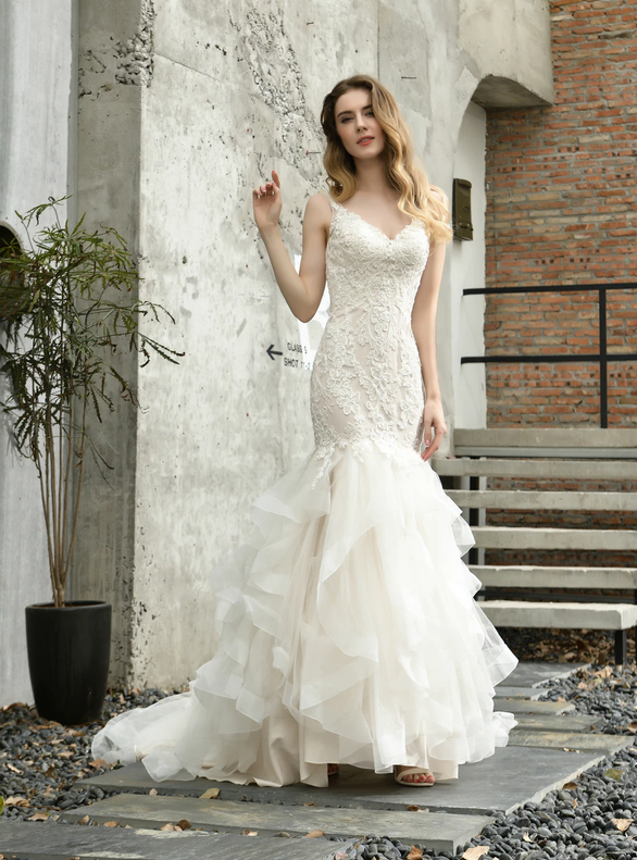 Champagne Mermaid Tulle V-neck Appliques Wedding Dress