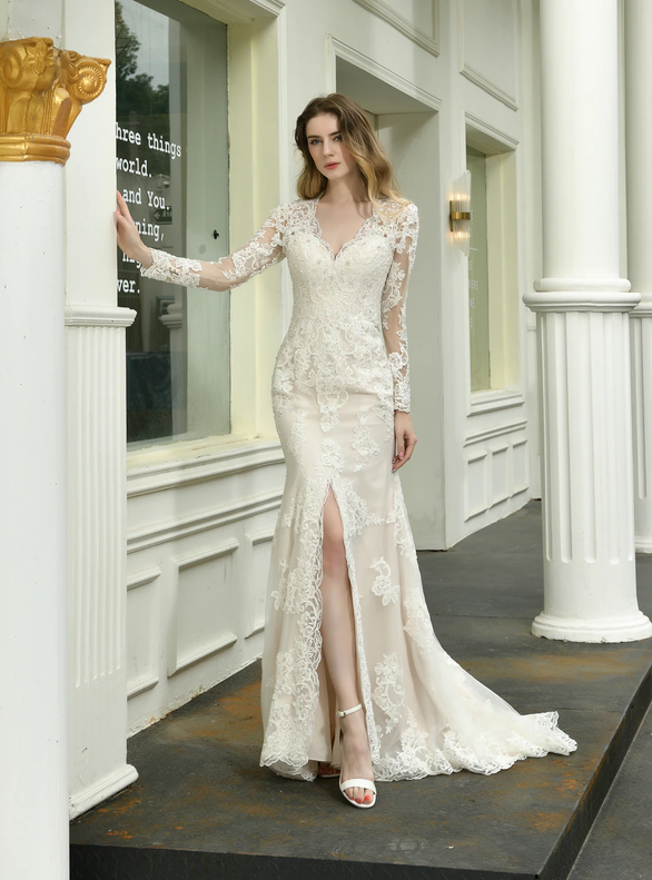 Mermaid Tulle Appliques Long Sleeve Wedding Dress With Split