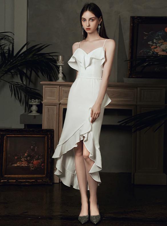 Hi Lo White Satin Spaghetti Straps Wedding Dress