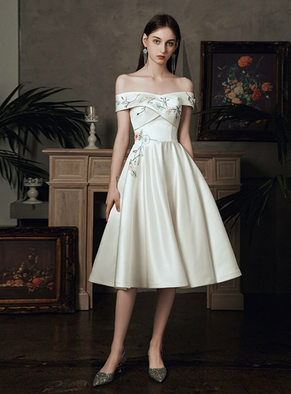 White Satin Off the Shoulder Embroidery Short Wedding Dress