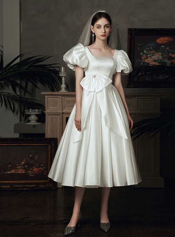 White Satin Square Puff Sleeve Wedding Dress With Bow