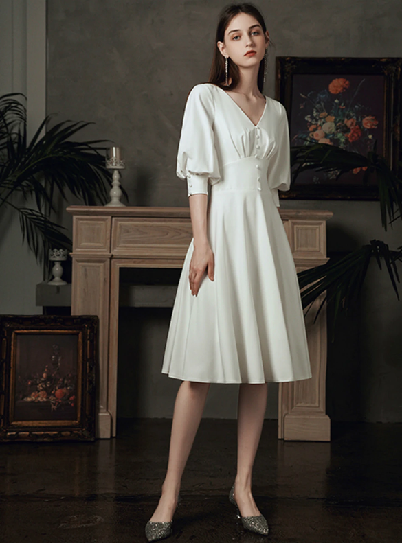 White Satin Half Sleeve Short Wedding Dress
