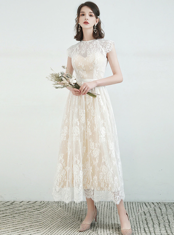 Simple Champagne Lace Tea Length Wedding Dress