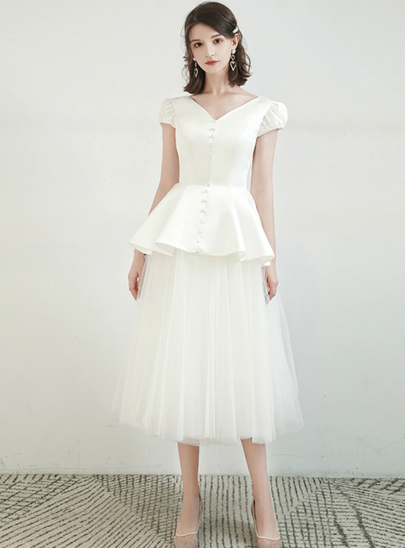 Cute White Tulle Satin V-neck Cap Sleeve Button Wedding Dress