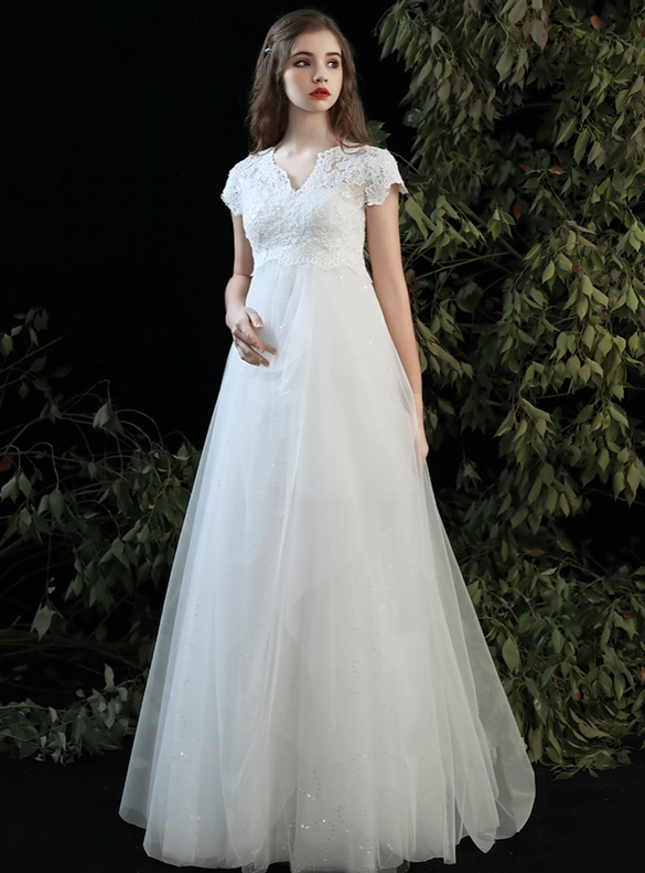 White Tulle Sequins Pregnant Woman Wedding Dress