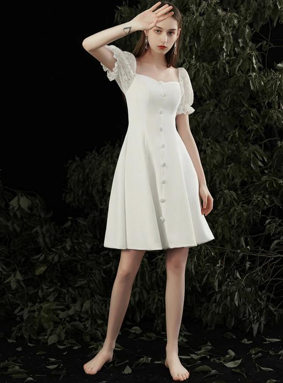 White Satin Lace Puff Sleeve Button Short Wedding Dress