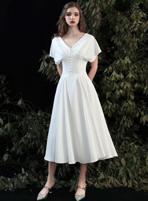 Casual White Satin V-neck Tea Length Wedding Dress