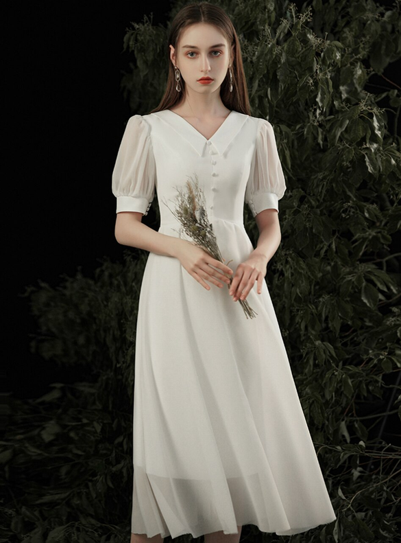 White Chiffon Short Sleeve Tea Length Wedding Dress