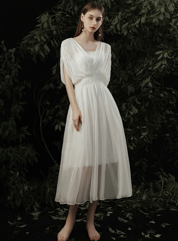 White Chiffon Pleats Tea Length Wedding Dress