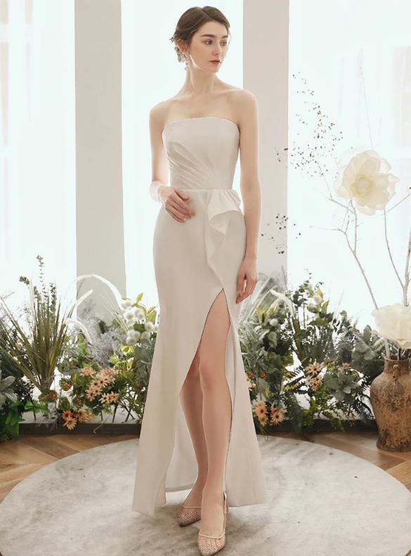 White Sheath Satin Strapless Pleats Wedding Dress With Jacket