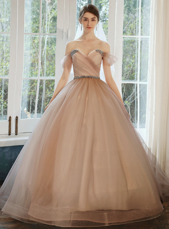 Advanced Pink Tulle Off the Shoulder Pleats Crystal Wedding Dress