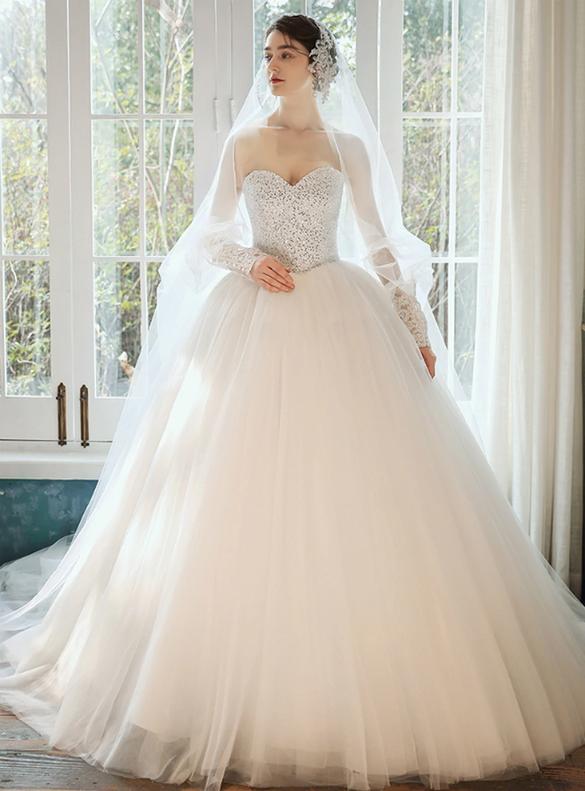 Handwork Beading Sequins Tulle Sweetheart Wedding Dress