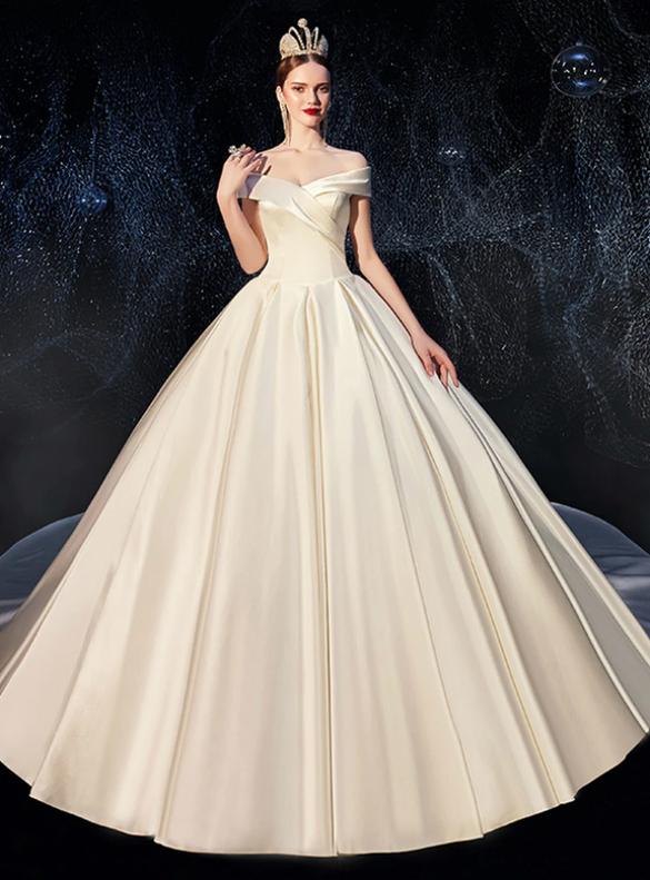 Delicate Ivory Satin Off the Shoulder Wedding Dress