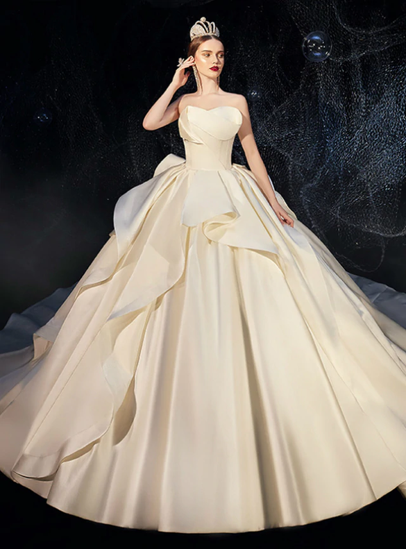 Dreamy Ivory Satin Strapless Ruffles Wedding Dress