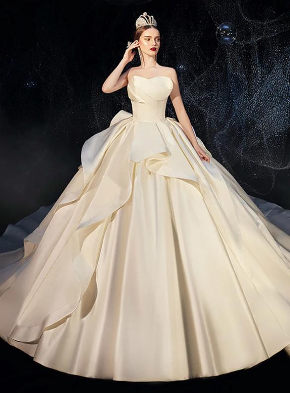 Dreamy Ivory Satin Strapless Ruffles Wedding Dress