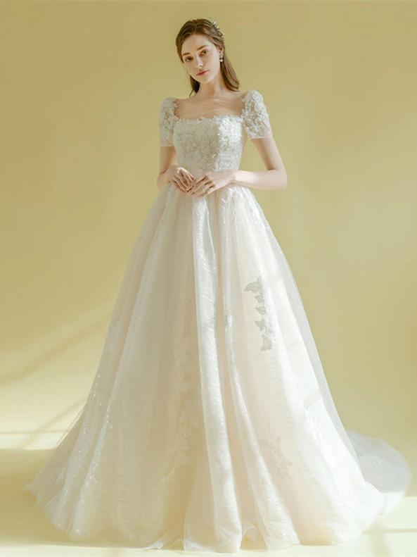 Ivory White Tulle Square Neck Short Sleeve Appliques Wedding Dress