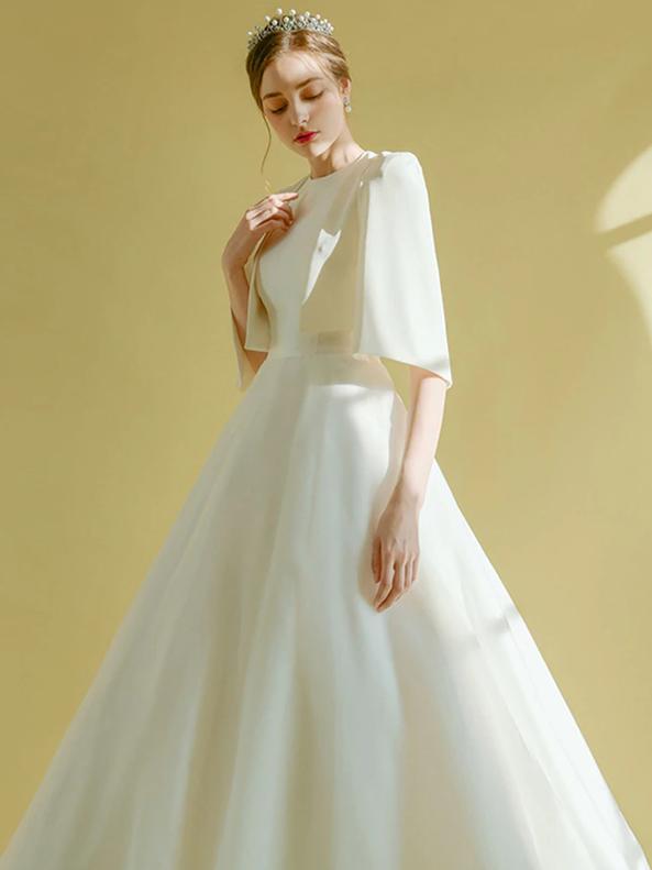 White Satin Backless Wedding Dress With Jacket