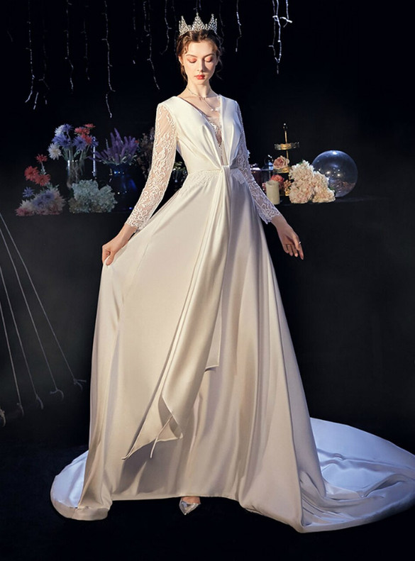 Lace Long Sleeve White Satin Pleats Wedding Dress