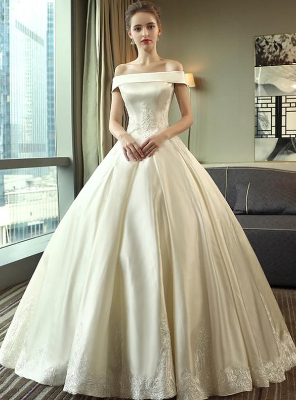 Ivory Satin Appliques Off the Shoulder Wedding Dress