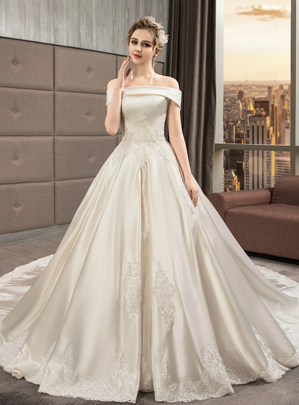 Ivory Satin Appliques Off the Shoulder Wedding Dress With Long Train
