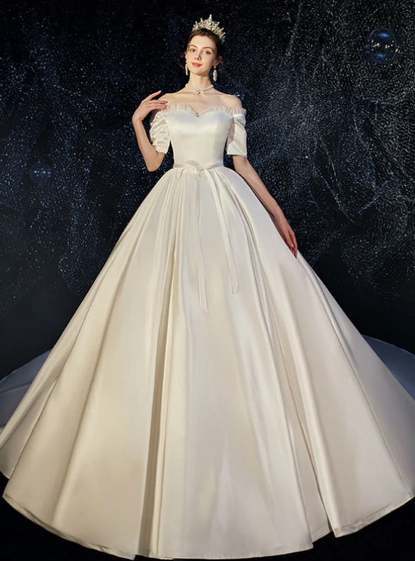 Amazing Ivory Satin Off Shoulder Wedding Dress With Train