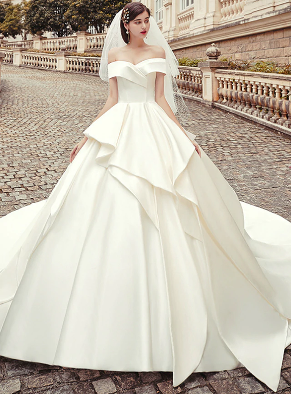 Advanced Ball Gown Satin White Wedding Dress