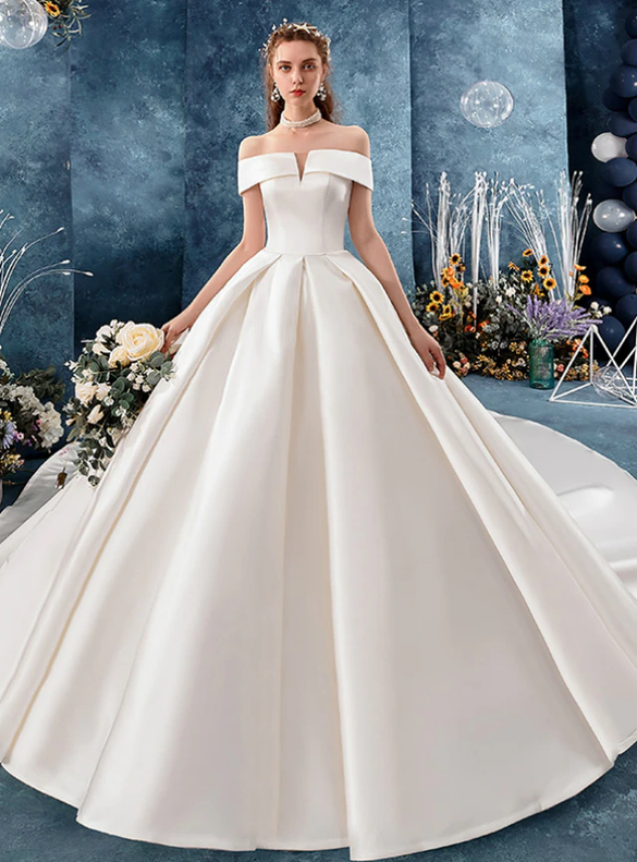 Queenly Satin Off the Shoulder White Wedding Dress