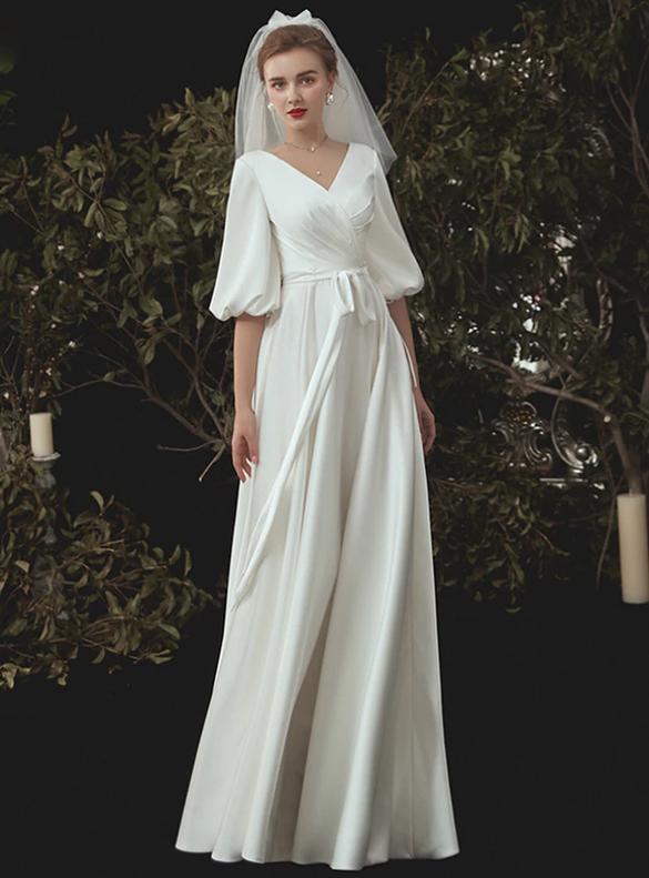 Satin V-neck Pleats Puff Sleeve Backless Wedding Dress