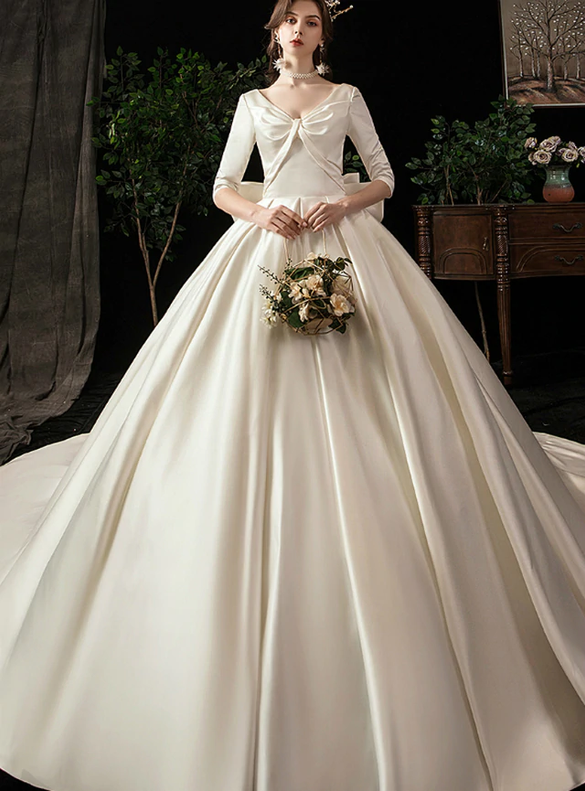 Ivory Satin V-neck 3/4 Sleeve Wedding Dress With Big Bow
