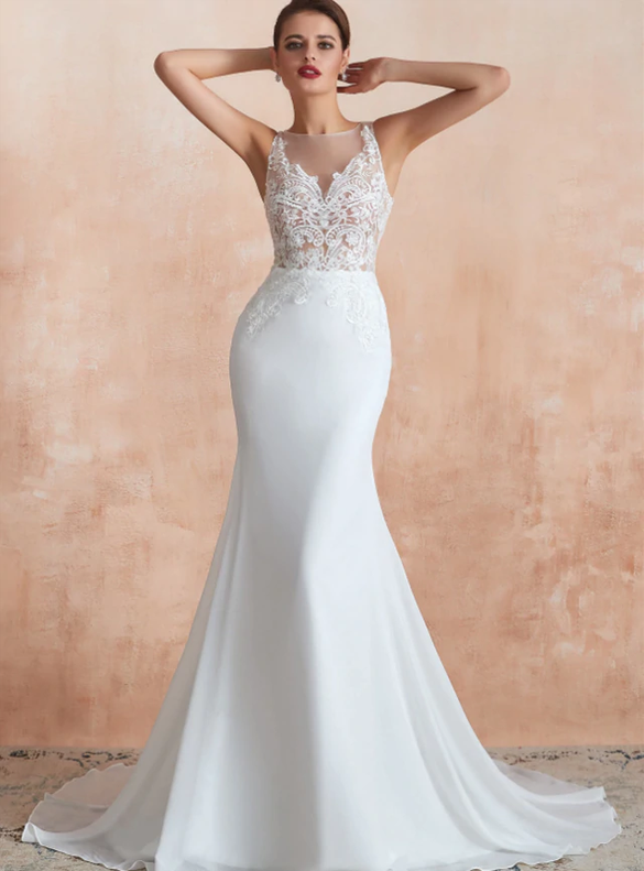Memraid Chiffon Appliques See-through Wedding Dress
