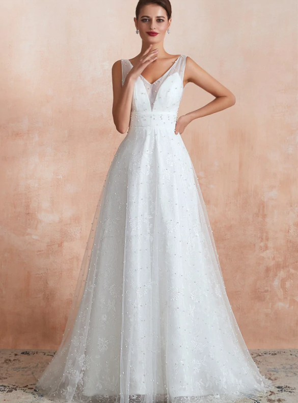 A-Line WHite Tulle Pearls Backless Wedding Dress