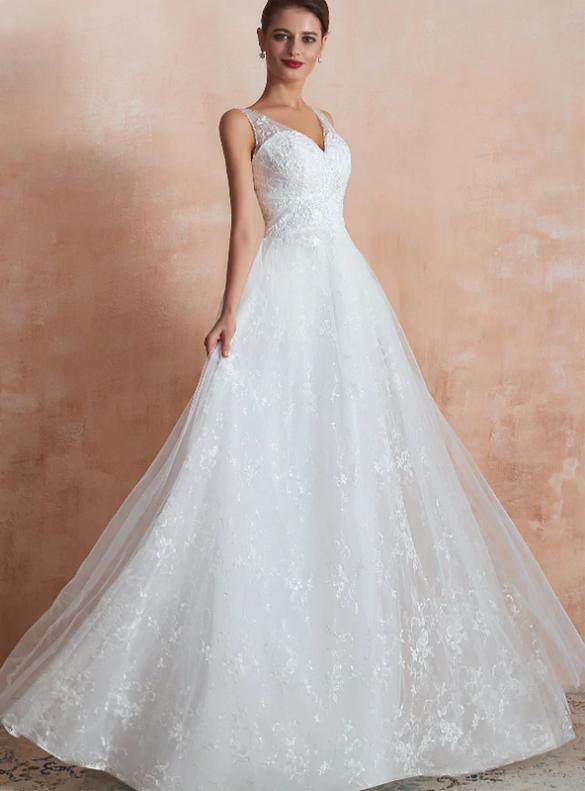 Fabulous White Tulle Lace V-neck Wedding Dress