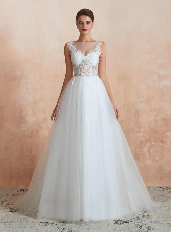 Fashionable Tulle Sequins Appliques Button Back Wedding Dress