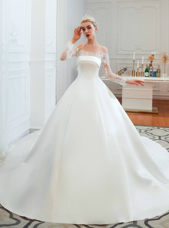 White Ball Gown Satin Lace Long Sleeve Wedding Dress