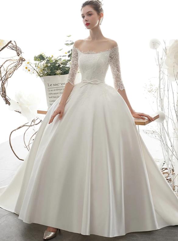 White Satin Lace Short Sleeve Open Back Wedding Dress