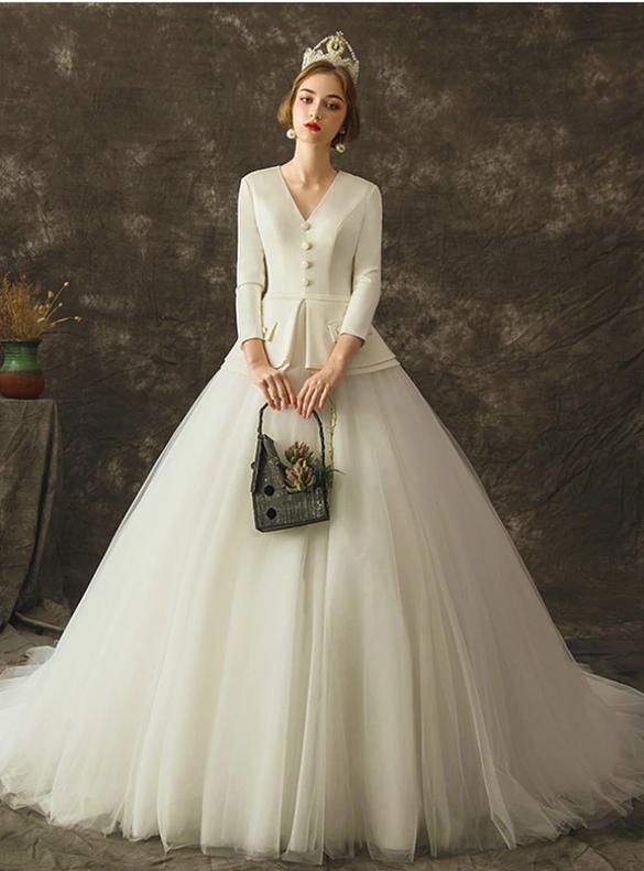 White Deep V-neck Satin Tulle Long Sleeve Button Wedding Dress