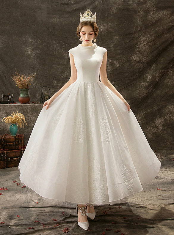 Winsome White Tulle Satin Caps Sleeve Wedding Dress